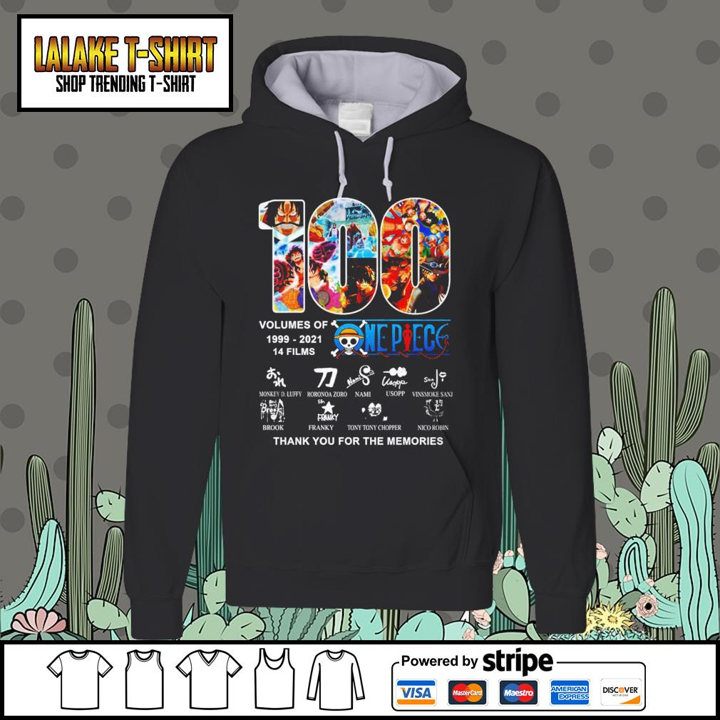 100 volumes of 1999 2021 One Piece thank you for the memories Hoodie