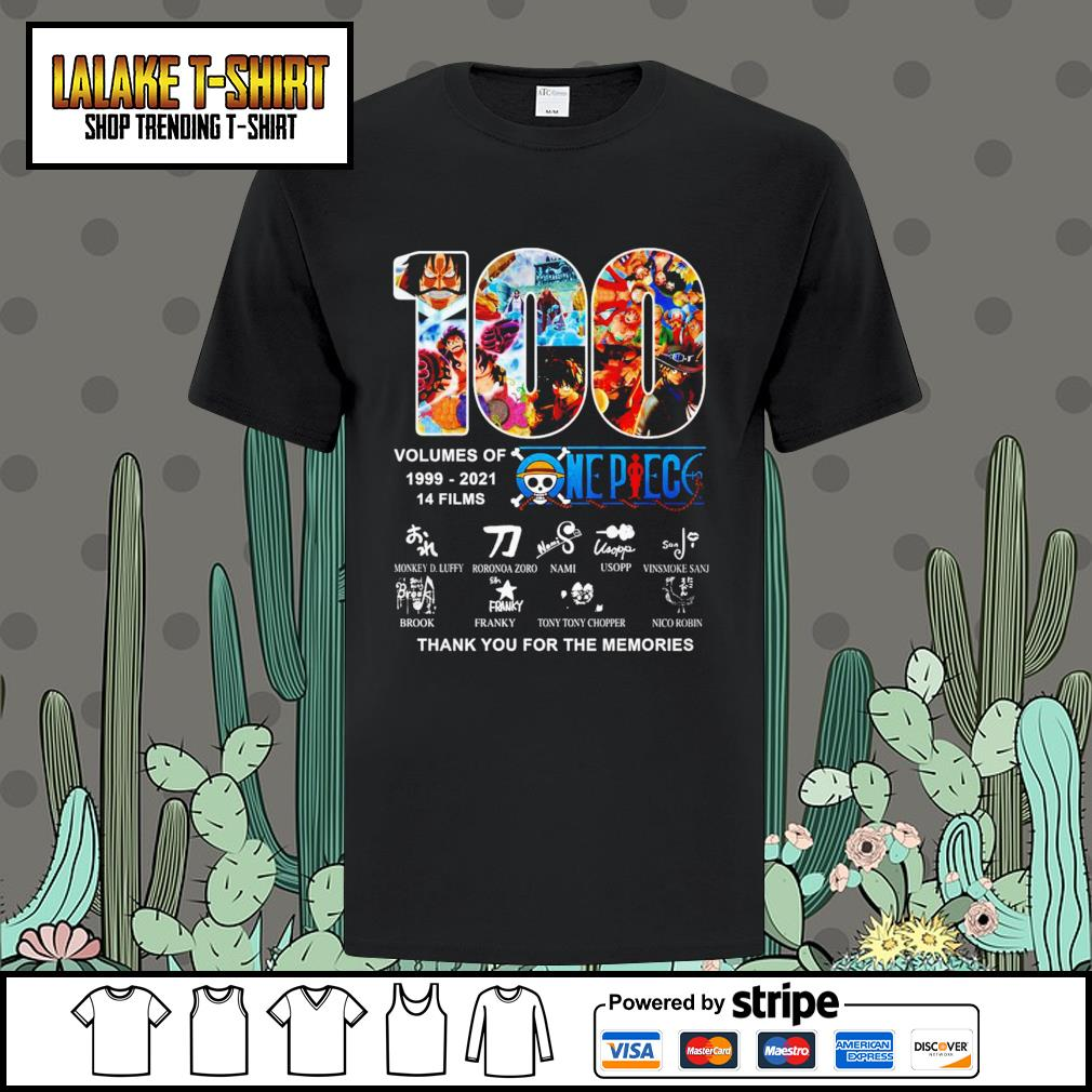 100 volumes of 1999 2021 One Piece thank you for the memories shirt