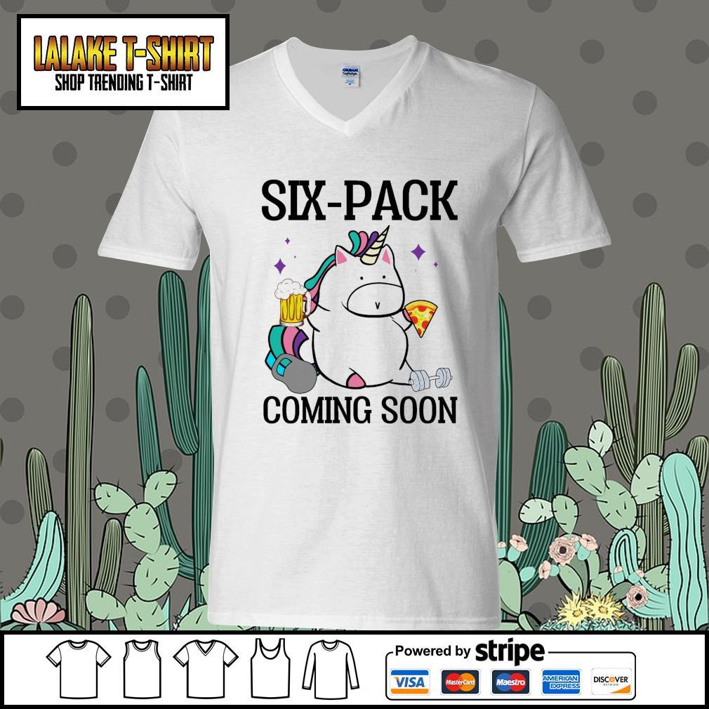 Unicorn six pack coming soon V-neck-T-shirt