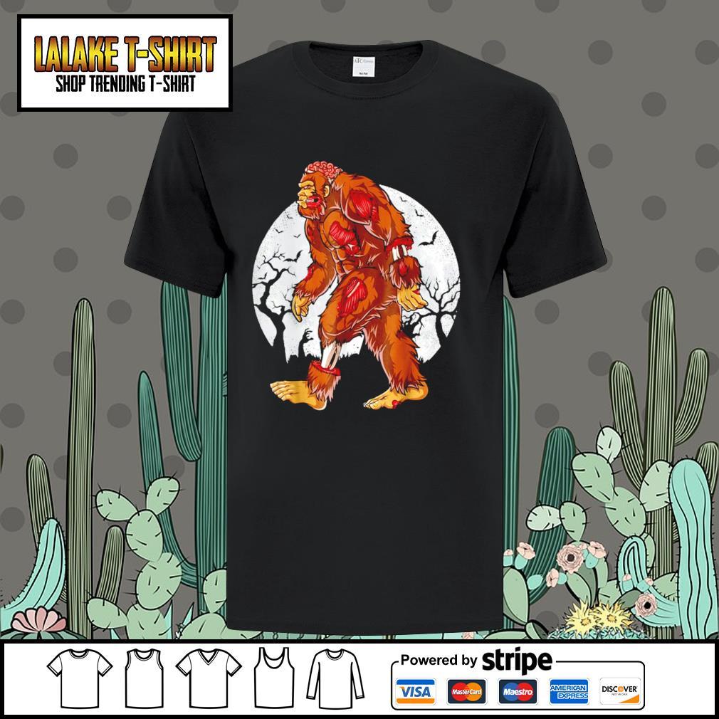 Bigfoot moon happy Halloween shirt