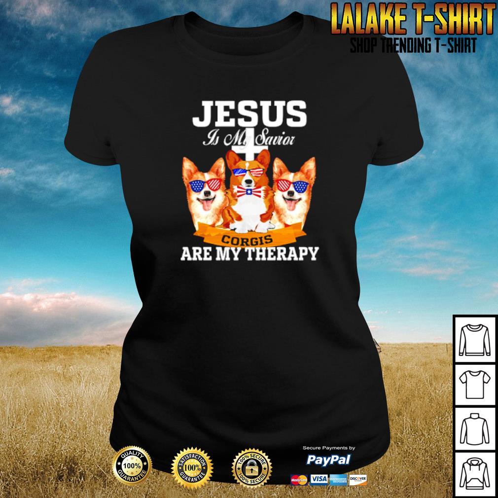 Jesus is my savior corgis are my therapy s ladies-tee