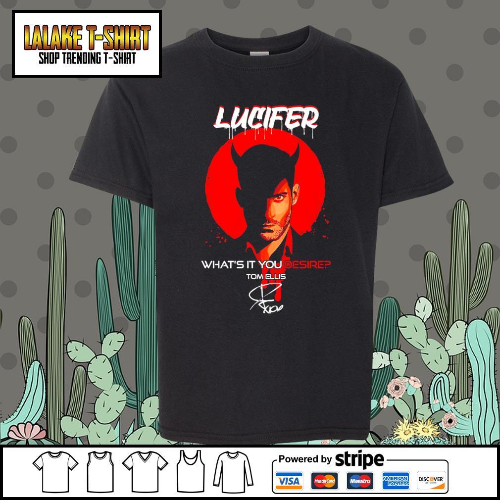 Lucifer what's it you desire Tom Ellis signature s Kid-T-shirt