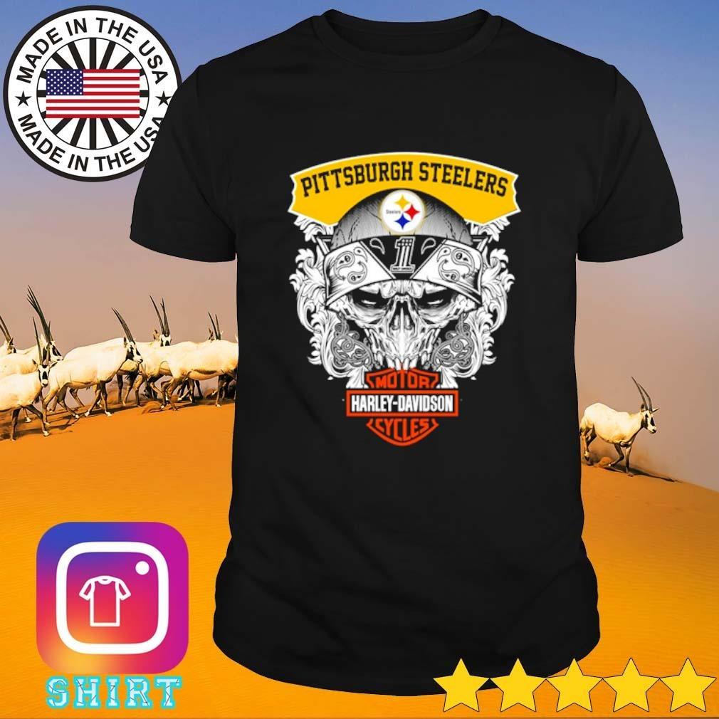 Skull Pittsburgh Steelers Motor Harley-Davidson Cycles shirt