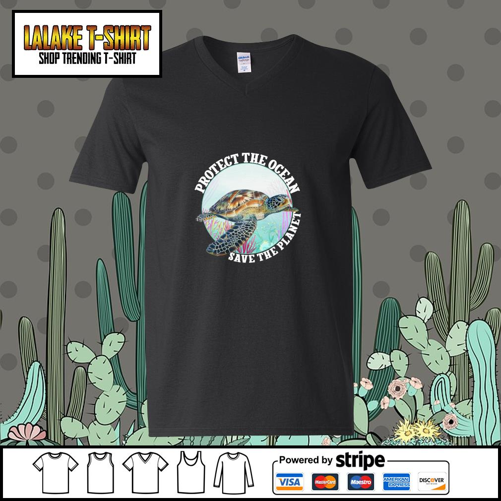 Turtle protect the ocean save the planet s v-neck-t-shirt
