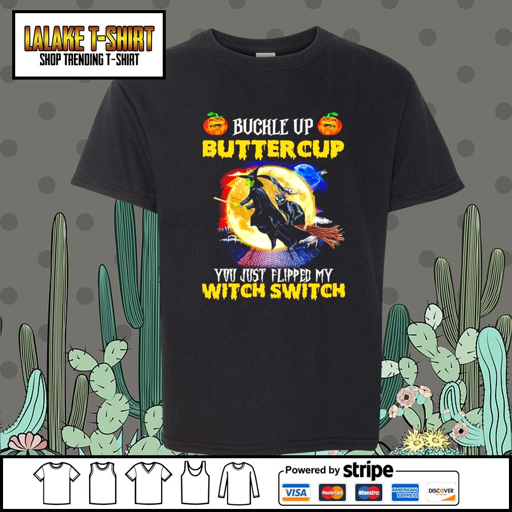 Witch and Black Cat buckle up buttercup you just flipped my witch switch s Kid-T-shirt