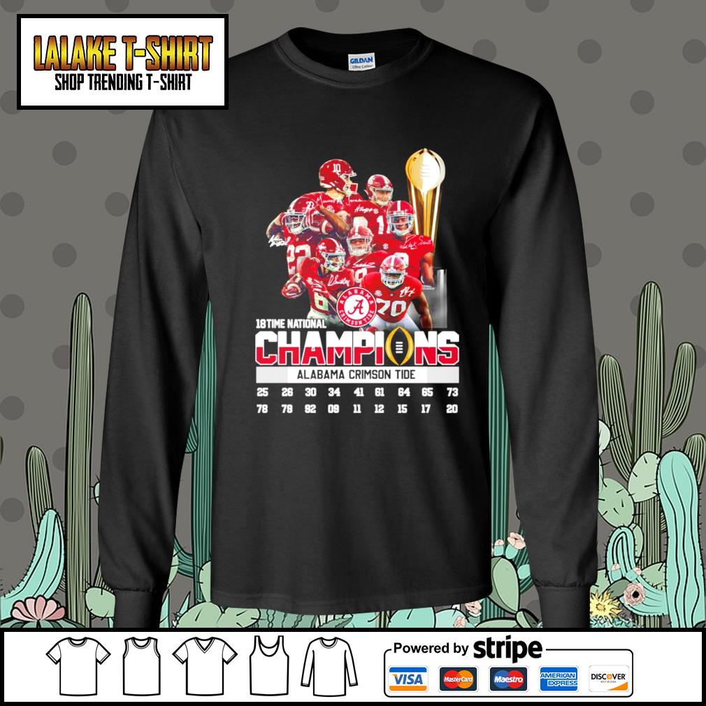 18 time national champions Alabama Crimson Tide signatures s Long-Sleeves-Tee