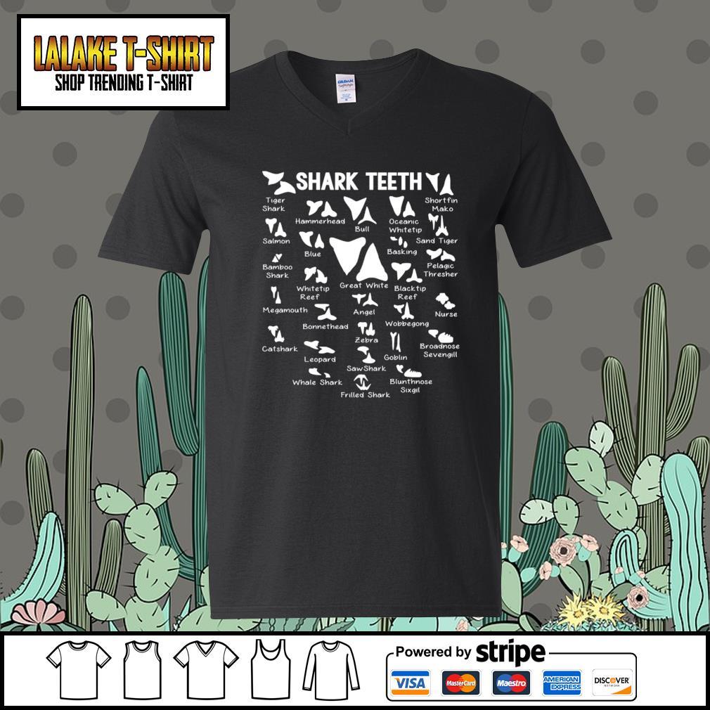 Shark Teeth tiger shark hammerhead bull oceanic whitetip s V-neck-T-shirt